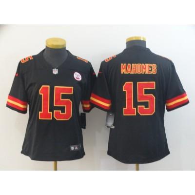 Nike Chiefs 15 Patrick Mahomes Black Vapor Untouchable Limited Women Jersey