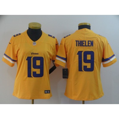 Nike Vikings 19 Adam Thielen Gold Inverted Legend Women Jersey