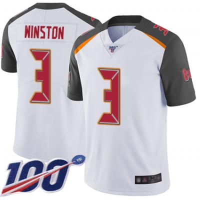 Nike Buccaneers 3 Jameis Winston White 100th Season Vapor Untouchable Limited Men Jersey