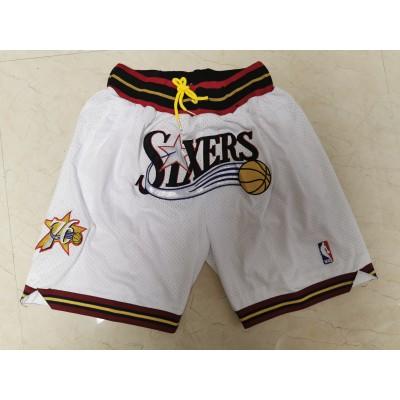 NBA 76ers White Just Don Throwback Mesh Shorts
