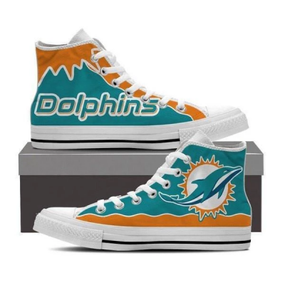 NFL Miami Dolphins Repeat Print High Top Sneakers 005