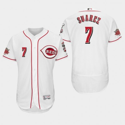MLB Cincinnati Reds 7 Eugenio Suarez White FlexBase Men Jersey