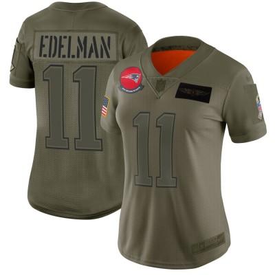 Nike Patriots 11 Julian Edelman 2019 Olive Salute To Service Limited Women Jersey(Run Small)