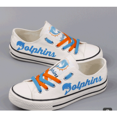 All Sizes NFL Miami Dolphins Repeat Print Low Top Sneakers 008