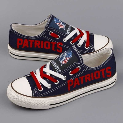All Sizes NFL New England Patriots Repeat Print Low Top Sneakers 007