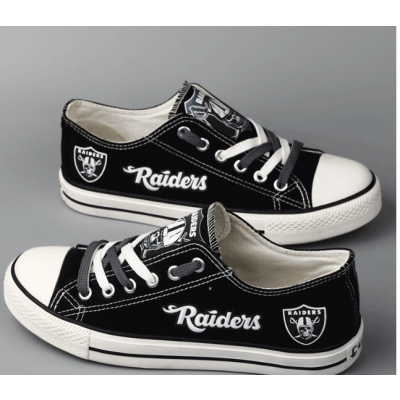 All Sizes NFL Oakland Raiders Repeat Print Low Top Sneakers 008