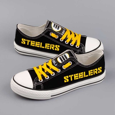 All Sizes NFL Pittsburgh Steelers Repeat Print Low Top Sneakers 006