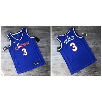 NBA 76ers 3 Allen Iverson Blue Hot-iron Nike Men Jersey