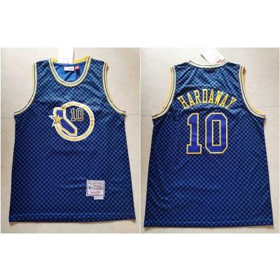 NBA Warriors 10 Tim Hardaway Blue Hardwood Classics Men Jersey