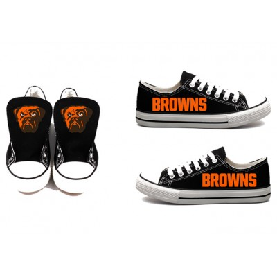 All Sizes NFL Cleveland Browns Repeat Print Low Top Sneakers 002