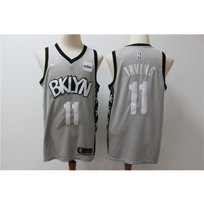 NBA Nets 11 Kyrie Irving Gray Nike New Men Jersey
