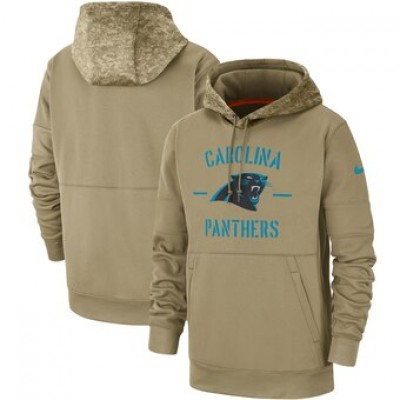 Nike Carolina Panthers Tan 2019 Salute To Service Sideline Therma Pullover Hoodie