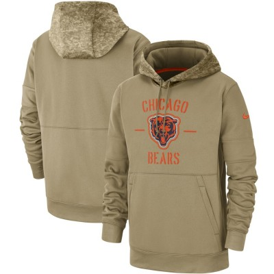 Nike Chicago Bears Tan 2019 Salute to Service Sideline Therma Pullover Hoodie