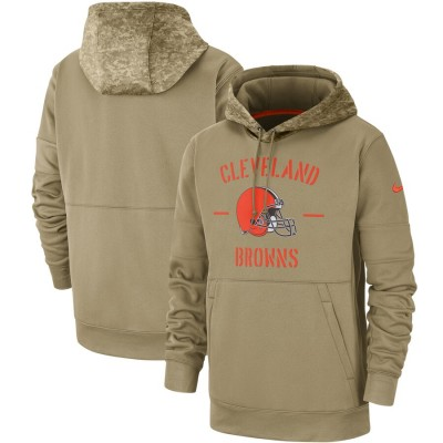Nike Cleveland Browns Tan 2019 Salute to Service Sideline Therma Pullover Hoodie