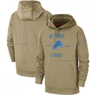 Nike Detroit Lions Tan 2019 Salute To Service Sideline Therma Pullover Hoodie