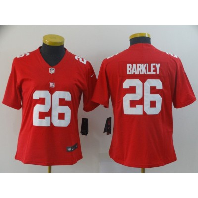 Nike Giants 26 Saquon Barkley Red Inverted Legend Limited Women Jersey