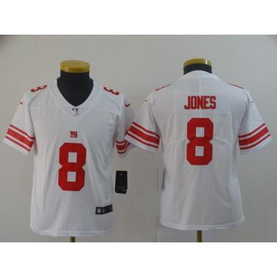 Nike Giants 8 Daniel Jones White Vapor Untouchable Limited Youth Jersey