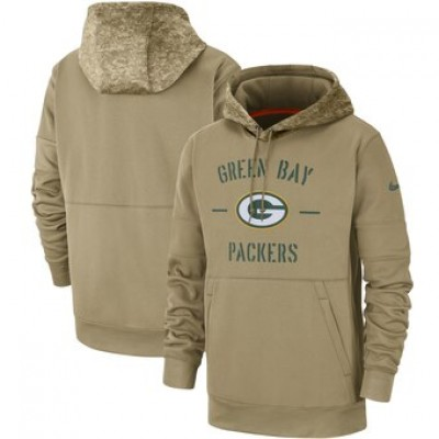 Nike Green Bay Packers Tan 2019 Salute To Service Sideline Therma Pullover Hoodie