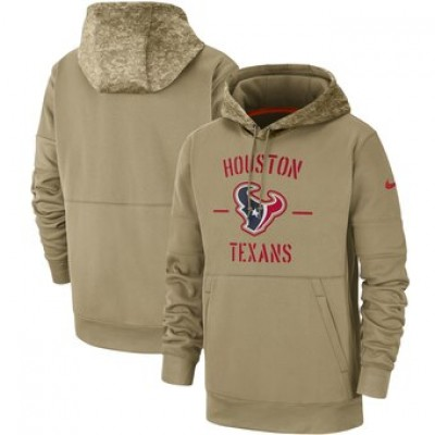 Nike Houston Texans Tan 2019 Salute To Service Sideline Therma Pullover Hoodie