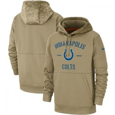 Nike Indianapolis Colts Tan 2019 Salute To Service Sideline Therma Pullover Hoodie