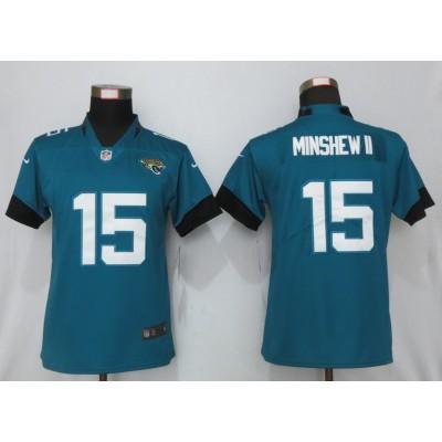 Nike Jaguars 15 Gardner Minshew II Teal Vapor Untouchable Limited Women Jersey