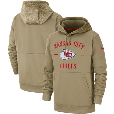 Nike Kansas City Chiefs Tan 2019 Salute to Service Sideline Therma Pullover Hoodie
