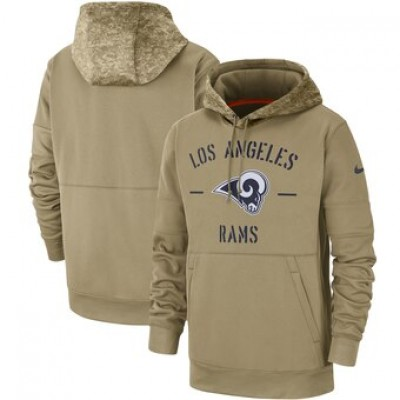 Nike Los Angeles Rams Tan 2019 Salute To Service Sideline Therma Pullover Hoodie