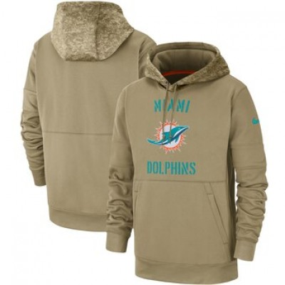 Nike Miami DolphinsMiami Dolphins Tan 2019 Salute To Service Sideline Therma Pullover Hoodie