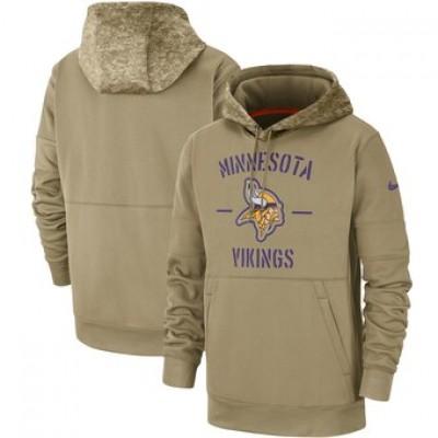 Nike Minnesota Vikings Tan 2019 Salute To Service Sideline Therma Pullover Hoodie