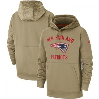 Nike New England Patriots Tan 2019 Salute To Service Sideline Therma Pullover Hoodie