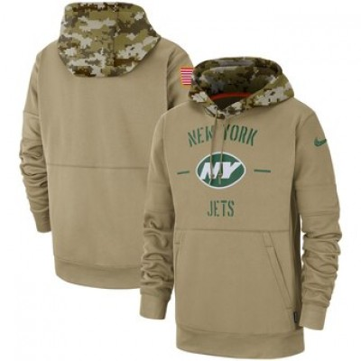 Nike New York Jets Tan 2019 Salute To Service Sideline Therma Pullover Hoodie