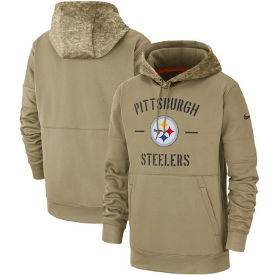 Nike Pittsburgh Steelers Tan 2019 Salute To Service Sideline Therma Pullover Hoodie