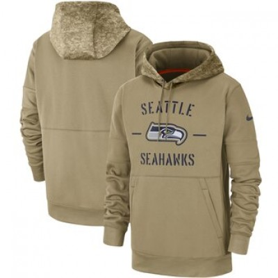 Nike Seattle Seahawks Tan 2019 Salute To Service Sideline Therma Pullover Hoodie