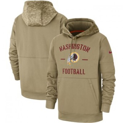 Nike Washington Redskins Tan 2019 Salute To Service Sideline Therma Pullover Hoodie