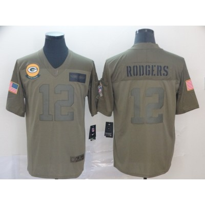 Nike Packers 12 Aaron Rodgers 2019 Olive Salute To Service Limited Men Jersey