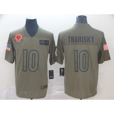 Nike Bears 10 Mitchell Trubisky 2019 Olive Salute To Service Limited Men Jersey