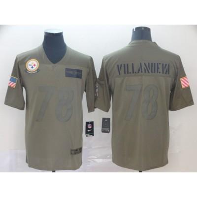 Nike Steelers 78 Alejandro Villanueva 2019 Olive Salute To Service Limited Men Jersey