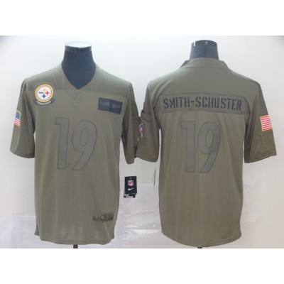 Nike Steelers 19 JuJu Smith-Schuster 2019 Olive Salute To Service Limited Men Jersey