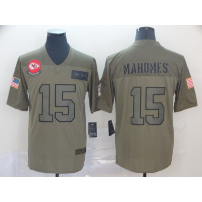 Nike Chiefs 15 Patrick Mahomes 2019 Olive Salute To Service Limited Men Jersey