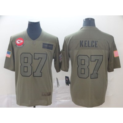 Nike Chiefs 87 Travis Kelce 2019 Olive Salute To Service Limited Men Jersey