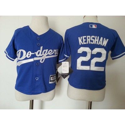 MLB Dodgers 22 Clayton Kershaw Blue Toddler Jersey