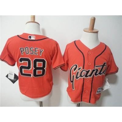 MLB Giants 28 Buster Posey Orange Toddler jersey