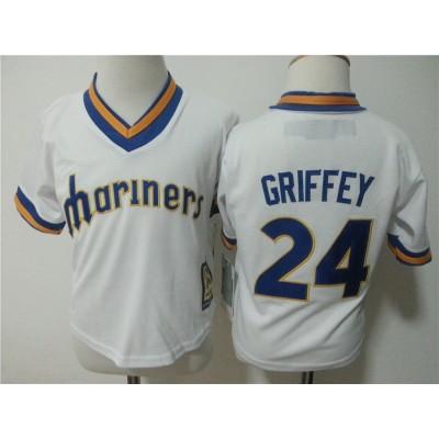 MLB Mariners 24 Ken Griffey Jr. White 1984 Throwback Toddler Jersey