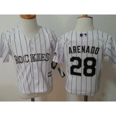 MLB Rockies 28 Nolan Arenado White Toddler Jersey
