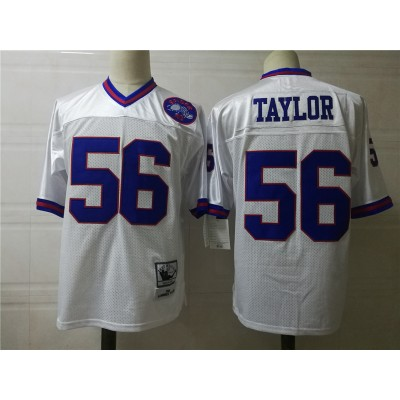 NFL Giants 56 Lawrence Taylor White Throwback Men Jersey