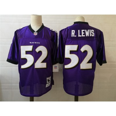 NFL Ravens 52 Ray Lewis Purple Purple Throwback Men Jersey
