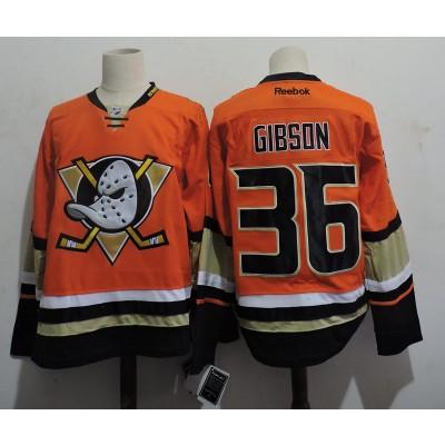 NHL Ducks 36 John Gibson Orange Reebok Men Jersey