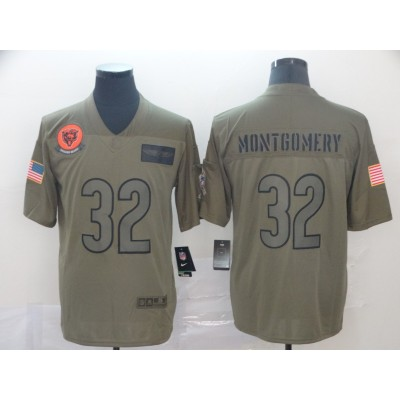 Nike Bears 32 David Montgomery Olive 2019 Salute To Service Limited Men Jersey