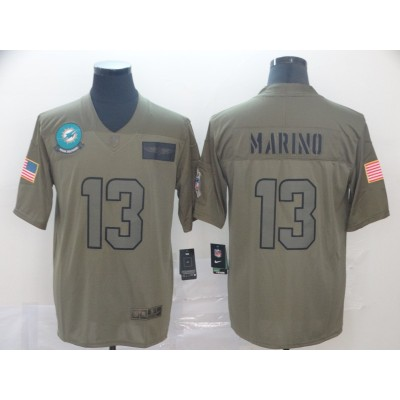 Nike Dolphins 13 Dan Marino Olive 2019 Salute To Service Limited Men Jersey