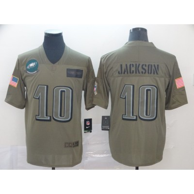 Nike Eagles 10 DeSean Jackson Olive 2019 Salute To Service Limited Men Jersey